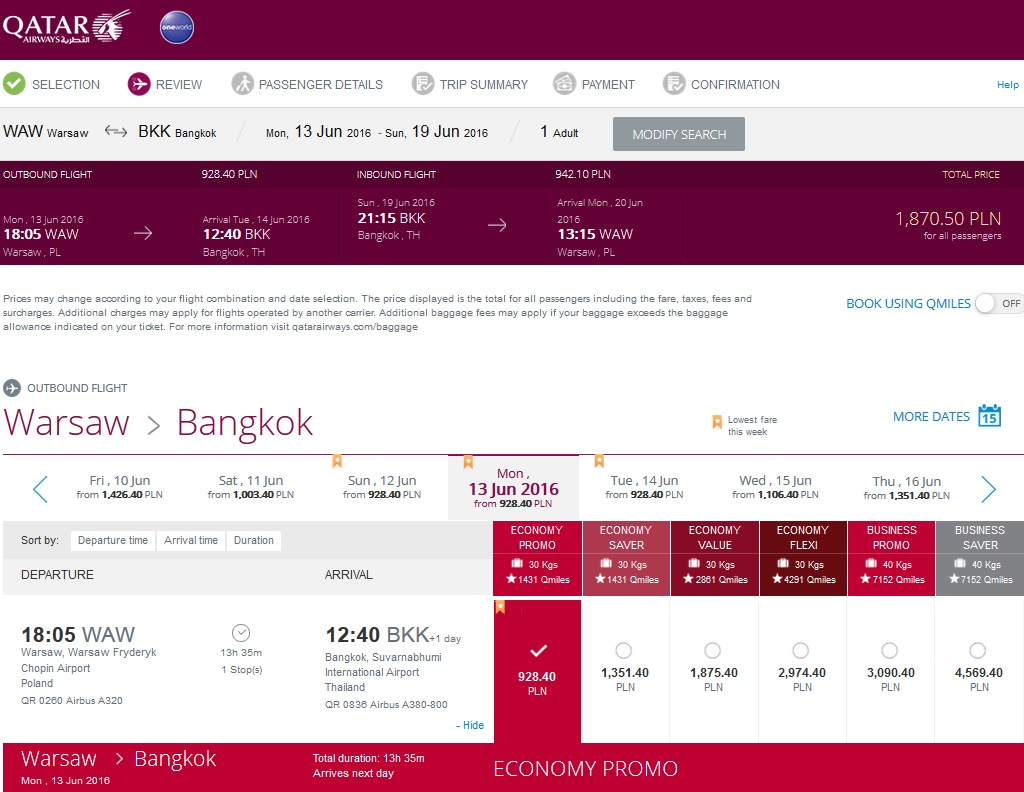 Tanie loty od Qatar Airways do Bangkoku za 1870,50 PLN